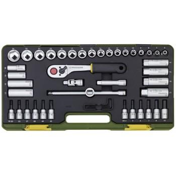 Компактный набор инструмента со средней флажковой трещоткой на 3/8 PROXXON